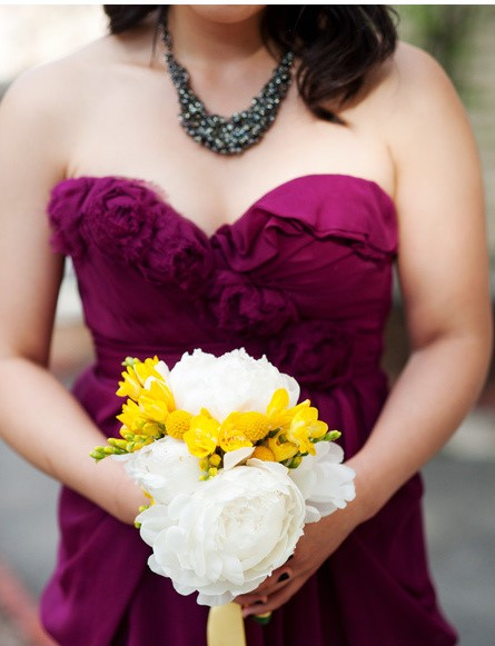 Brides White Peony Bouquet With Yellow Flowers