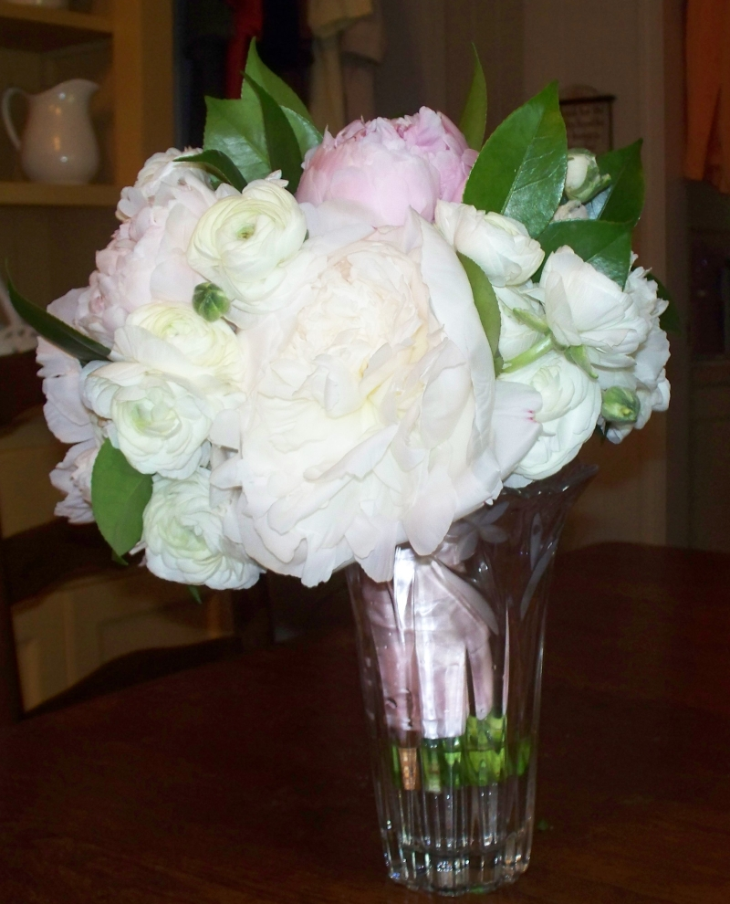 Pink peonies wedding flowers for shannons wedding they are mixed with white pink and blue hydrange and green foliage what a beautiful wedding floral arrangment mightylinksfo